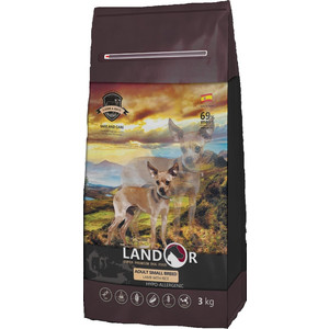 все цены на Сухой корм LANDOR Adult Small Breed Lamb with Rice гипоаллергенный с ягнёнком и рисом для взрослых собак мелких пород 3кг онлайн