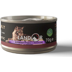Консервы LANDOR куриная грудка с лососем для взрослых кошек 70г
