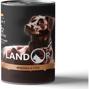 Консервы LANDOR индейка и утка для собак всех пород 400г