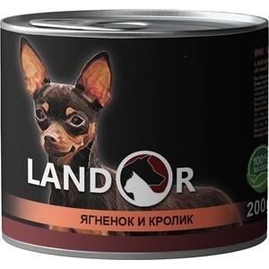 Консервы LANDOR ягненок с кроликом для взрослых собак мелких пород 200г