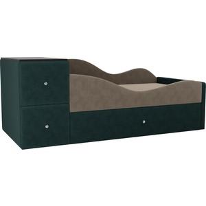 Детская кровать АртМебель Дельта велюр бежевый/бирюза правый угол детская кровать артмебель дельта велюр серый бежевый левый угол