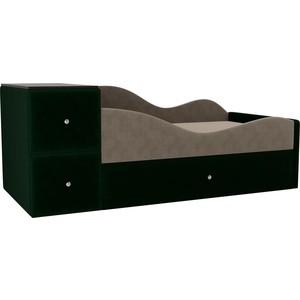 Детская кровать АртМебель Дельта велюр бежевый/зеленый правый угол
