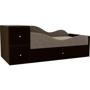 Детская кровать АртМебель Дельта велюр бежевый/коричневый правый угол детская кровать артмебель дельта велюр серый бежевый левый угол