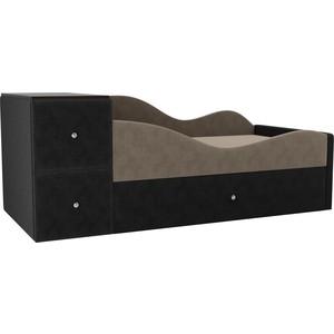 Детская кровать АртМебель Дельта велюр бежевый/серый правый угол