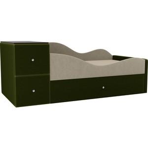 Детская кровать АртМебель Дельта микровельвет бежевый/зеленый правый угол