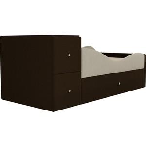 Детская кровать АртМебель Дельта микровельвет бежевый/коричневый правый угол