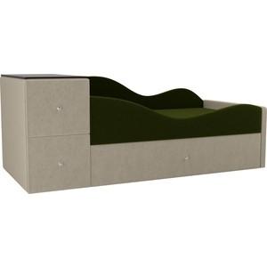 Детская кровать АртМебель Дельта микровельвет зеленый/бежевый правый угол детская кровать артмебель тедди 1 микровельвет бежевый зеленый правый угол