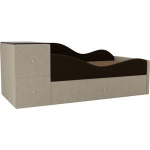 Детская кровать АртМебель Дельта микровельвет коричневый/бежевый правый угол