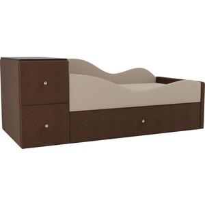 Детская кровать АртМебель Дельта рогожка бежевый/коричневый правый угол