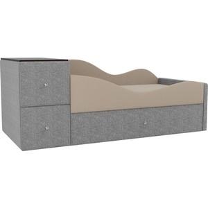 Детская кровать АртМебель Дельта рогожка бежевый/серый правый угол