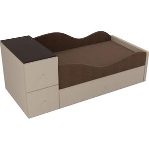Детская кровать АртМебель Дельта рогожка коричневый/бежевый правый угол