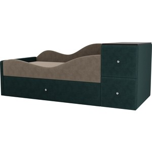 Детская кровать АртМебель Дельта велюр бежевый/бирюза левый угол