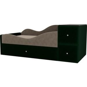 Детская кровать АртМебель Дельта велюр бежевый/зеленый левый угол