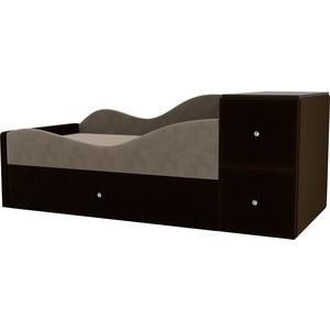 Детская кровать АртМебель Дельта велюр бежевый/коричневый левый угол детская кровать артмебель дельта велюр серый бежевый левый угол