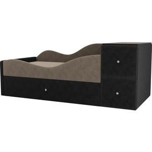 Детская кровать АртМебель Дельта велюр бежевый/серый левый угол детская кровать артмебель дельта велюр серый бежевый левый угол