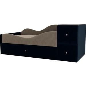 Детская кровать АртМебель Дельта велюр бежевый/синий левый угол детская кровать артмебель дельта велюр серый бежевый левый угол