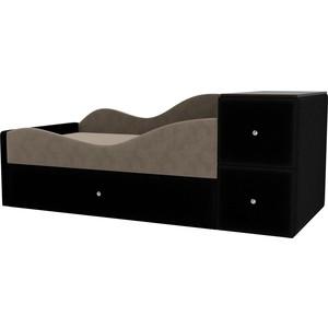 Детская кровать АртМебель Дельта велюр бежевый/черный левый угол детская кровать артмебель дельта велюр серый бежевый левый угол