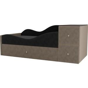 Детская кровать АртМебель Дельта велюр серый/бежевый левый угол детская кровать артмебель дельта велюр серый бежевый левый угол