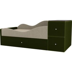 Детская кровать АртМебель Дельта микровельвет бежевый/зеленый левый угол