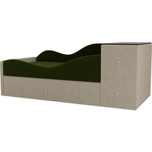 Детская кровать АртМебель Дельта микровельвет зеленый/бежевый левый угол