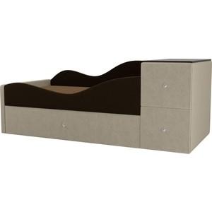 Детская кровать АртМебель Дельта микровельвет коричневый/бежевый левый угол