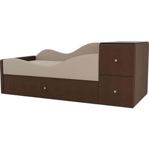 Детская кровать АртМебель Дельта рогожка бежевый/коричневый левый угол детская кровать артмебель дельта рогожка коричневый серый правый угол