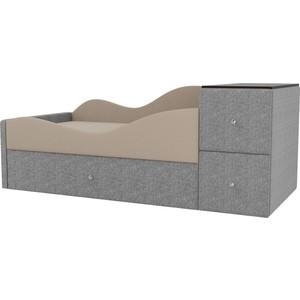 Детская кровать АртМебель Дельта рогожка бежевый/серый левый угол