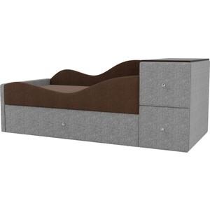 Детская кровать АртМебель Дельта рогожка коричневый/серый левый угол