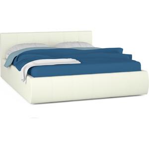 Кровать интерьерная Нижегородмебель Афина подъемный ортопед, искусственная кожа белая