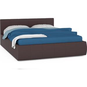 Кровать интерьерная Нижегородмебель Афина подъемный ортопед, искусственная кожа темно-коричневая
