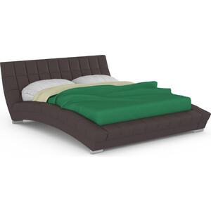 Кровать интерьерная Нижегородмебель и К Оливия ортопед, искусственная кожа темно-коричневая фото