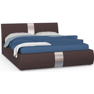 Кровать интерьерная Нижегородмебель Челси подъемный ортопед, искусственная кожа темно-коричневая
