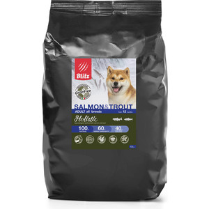 Сухой корм Blitz Petfood Holistic Adult All Breeds Grain Free Salmon & Trout беззерновой с лососем и форелью для собак всех пород 12кг