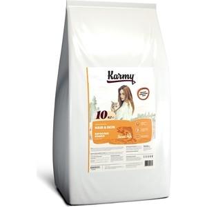 Сухой корм Karmy Hair & Skin Cat Лосось поддержание здоровья кожи и шерсти для кошек 10кг