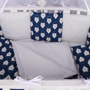 Бортик в кроватку AmaroBaby WB 12 предметов (12 подушек-бортиков) БЕЛЫЕ МЕДВЕДИ (синий)