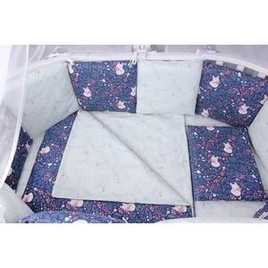 Бортик в кроватку AmaroBaby WB 12 предметов (12 подушек-бортиков) ЛИСИЧКИ (синий)