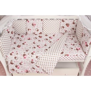 Комплект в кроватку AmaroBaby Premium 19 предметов (7+12 бортиков) ДЕСЕРТ (розовый, бязь)