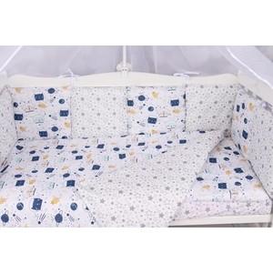 Комплект в кроватку AmaroBaby WB Premium 18 предметов (6+12 бортиков) КОСМОС (белый)