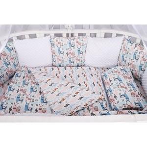 Комплект в кроватку AmaroBaby WB Premium 18 предметов (6+12 бортиков) ЛАМЫ (розовый)