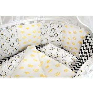 Комплект в кроватку AmaroBaby WB Premium 19 предметов (7+12 бортиков) ПИНГВИНЫ (желтый, бязь)