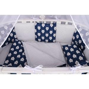 Комплект в кроватку AmaroBaby WB 15 предметов (3+12 подушек-бортиков) БЕЛЫЕ МЕДВЕДИ (бязь, синий)