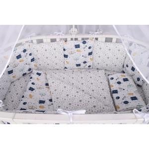 Комплект в кроватку AmaroBaby WB 15 предметов (3+12 подушек-бортиков) КОСМОС (бязь, белый)