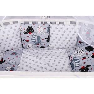 Комплект в кроватку AmaroBaby WB 15 предметов (3+12 подушек-бортиков) КОТИКИ (бязь, серый)