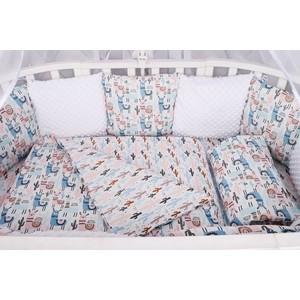 Комплект в кроватку AmaroBaby WB 15 предметов (3+12 подушек-бортиков) ЛАМЫ (бязь, розовый, МИНКИ)