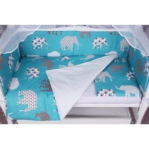 Комплект в кроватку AmaroBaby WB 4 предмета (бортики на молнии) СЛОНИКИ (бязь, изумруд) бортики в кроватку leader kids мишки с коляской