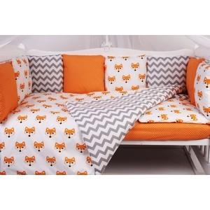 Комплект в кроватку AmaroBaby 15 предметов (3+12 подушек-бортиков) LUCKY (оранжевый,поплин/бязь)