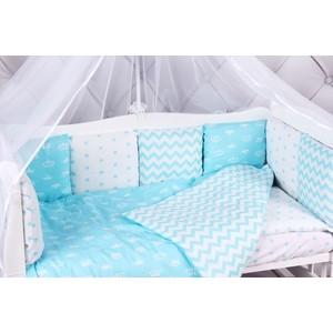 Комплект в кроватку AmaroBaby 15 предметов (3+12 подушек-бортиков) ROYAL BABY бирюза (бязь)