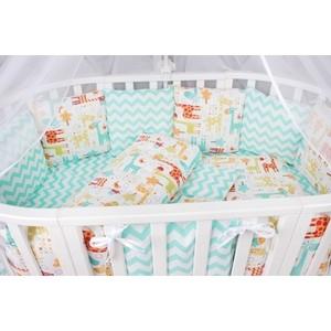 Комплект в кроватку AmaroBaby 19 предметов (7+12 подушек-бортиков) ЖИРАФИК (бирюз/оранж,попл./бязь)