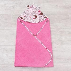 Полотенце детское с уголком AmaroBaby CUTE LOVE ДЕСЕРТ (розовый), 90х90 см. cute love