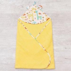 Полотенце детское с уголком AmaroBaby CUTE LOVE ЖИРАФИКИ (желтый), 90х90 см.
